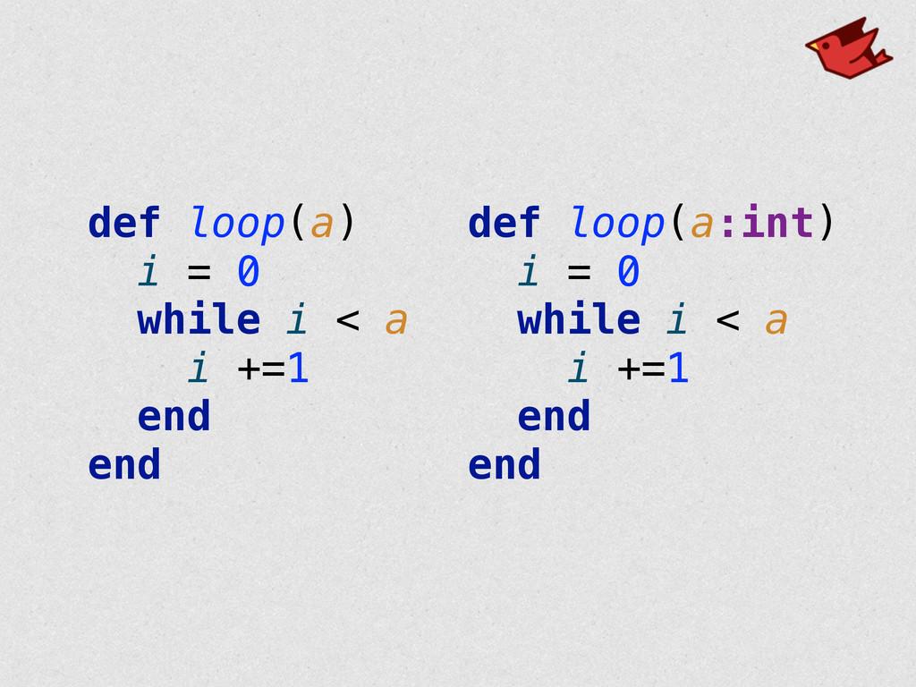 def loop(a) i = 0 while i < a i +=1 end en...