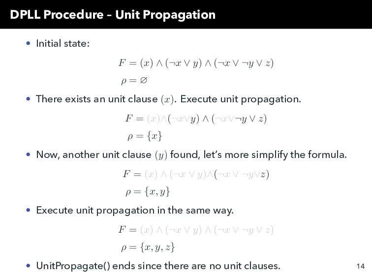 DPLL Procedure – Unit Propagation • Initial sta...