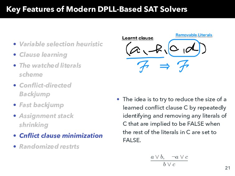 Key Features of Modern DPLL-Based SAT Solvers •...