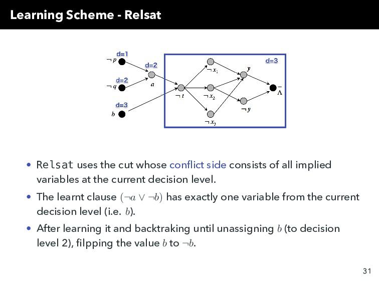 Learning Scheme - Relsat • Relsat uses the cut ...