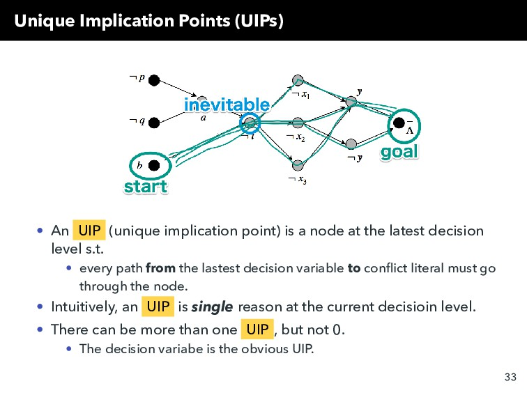 Unique Implication Points (UIPs) • An UIP (uniq...