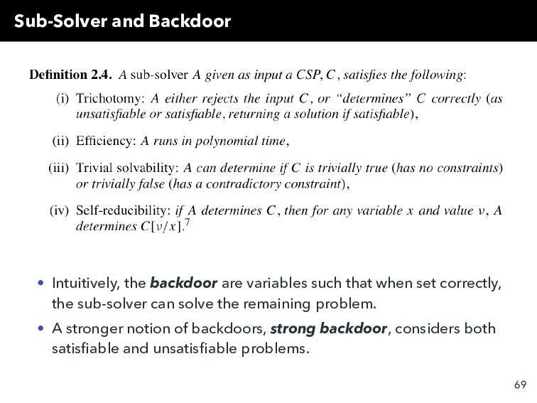 Sub-Solver and Backdoor • Intuitively, the back...
