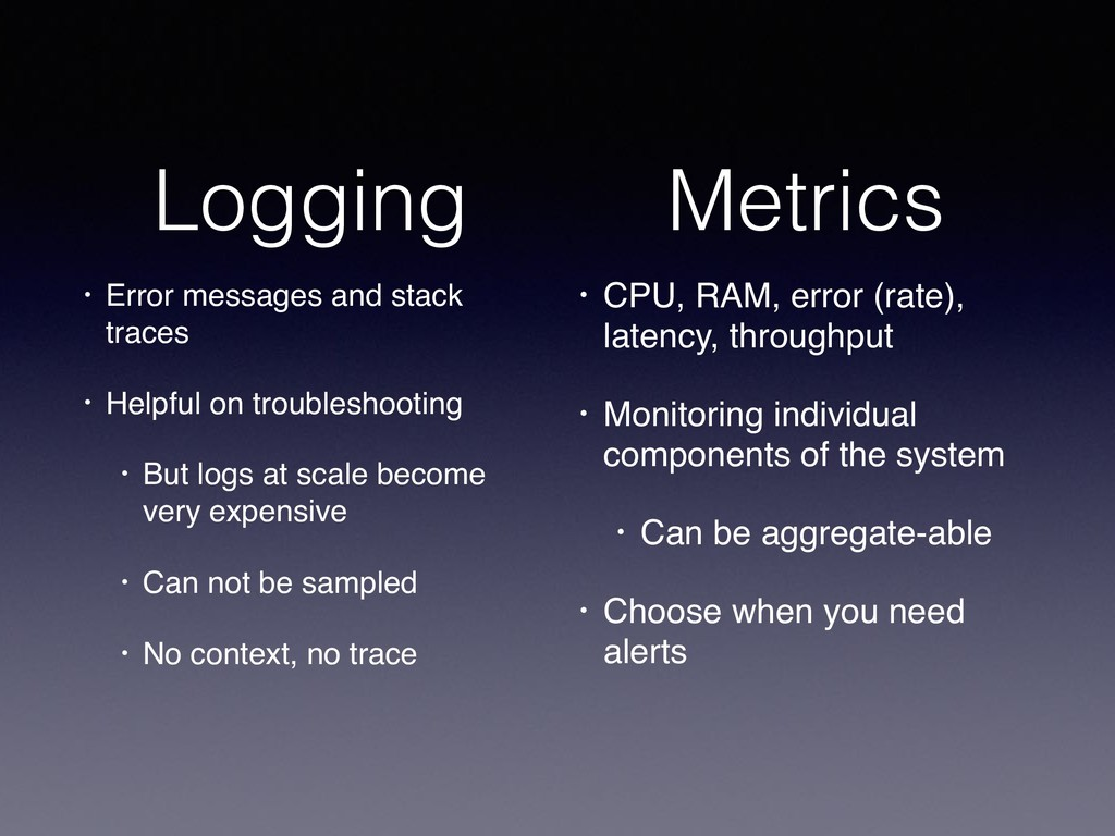 Logging • Error messages and stack traces • Hel...