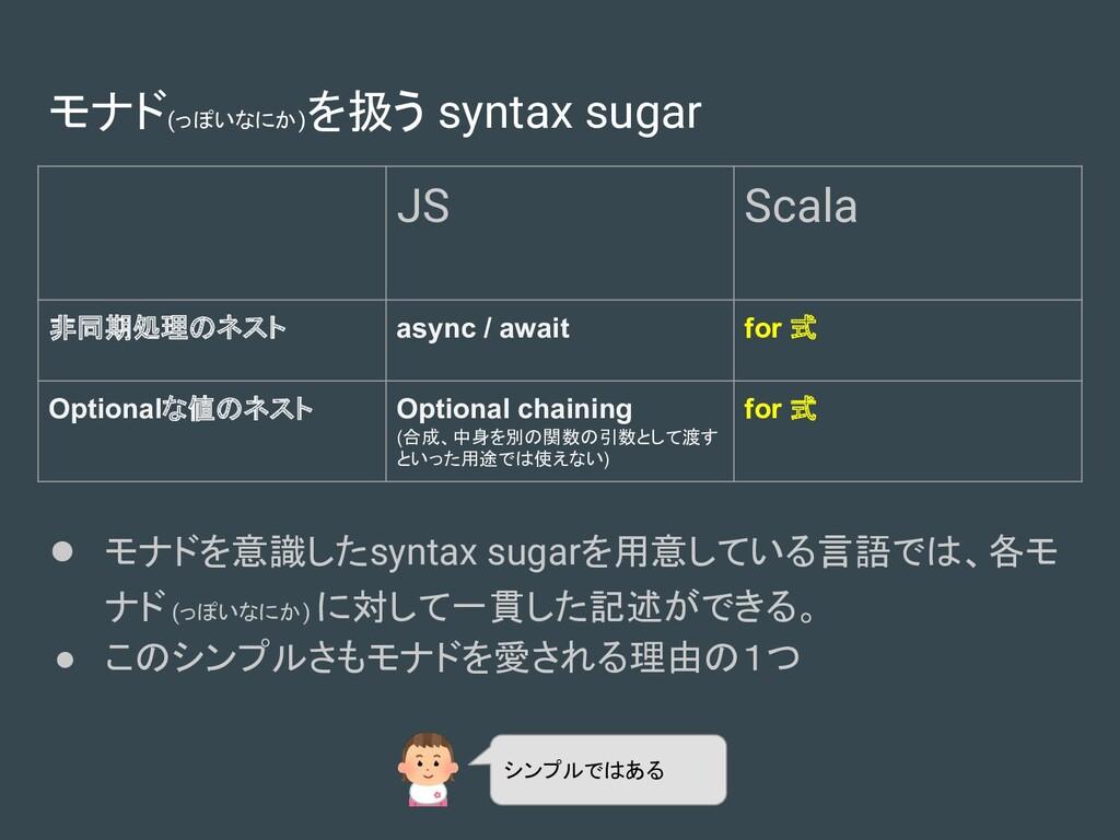 モナド(っぽいなにか) を扱う syntax sugar JS Scala 非同期処理のネスト...