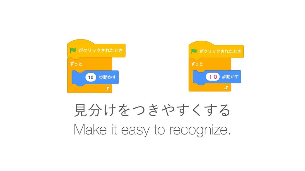 Make it easy to recognize. ݟ͚Λ͖ͭ͘͢͢Δ ̍̌