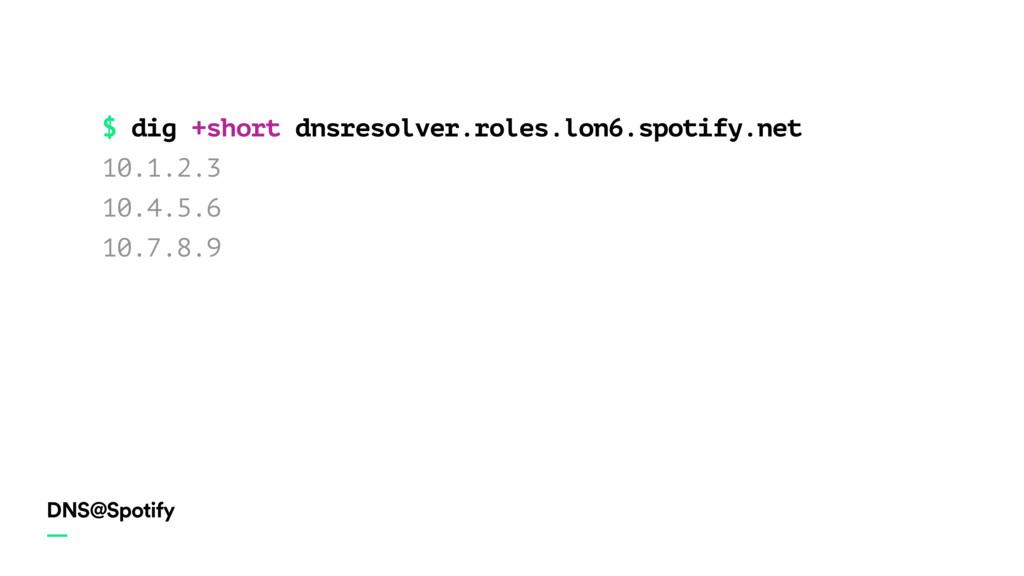 DNS@Spotify — $ dig +short dnsresolver.roles.lo...