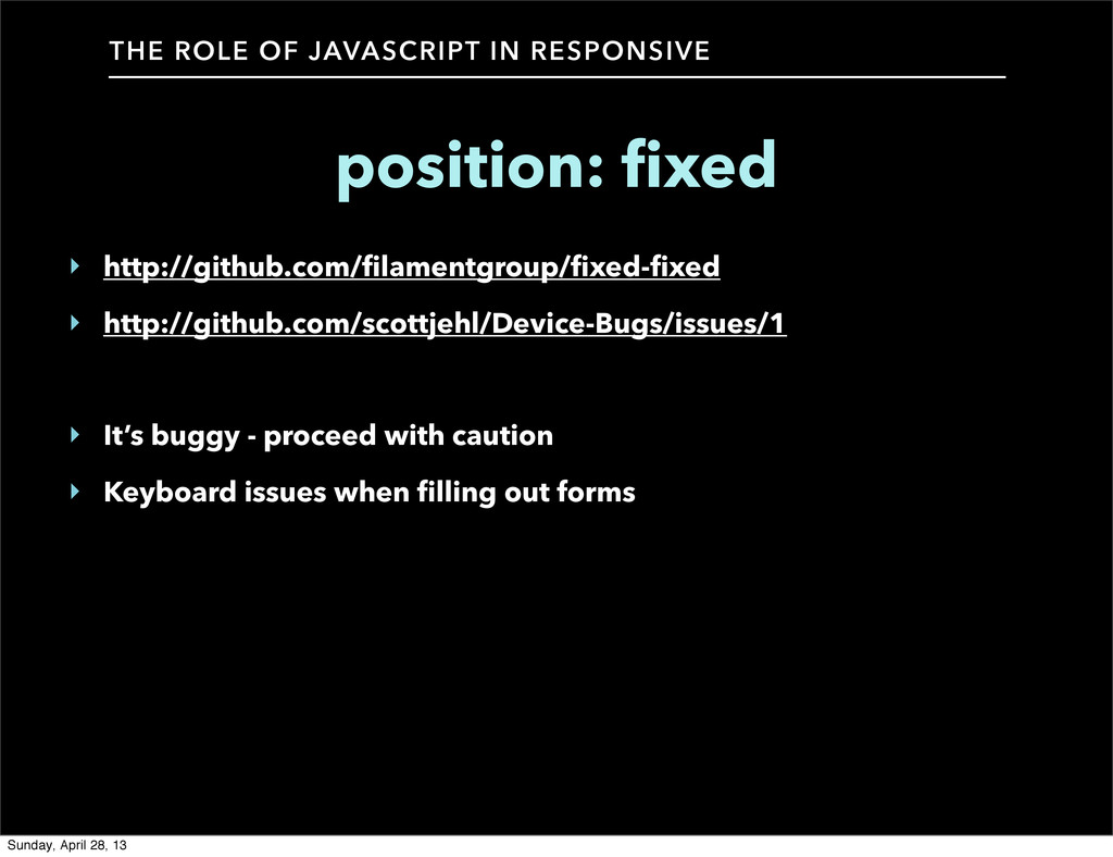 THE ROLE OF JAVASCRIPT IN RESPONSIVE position: ...