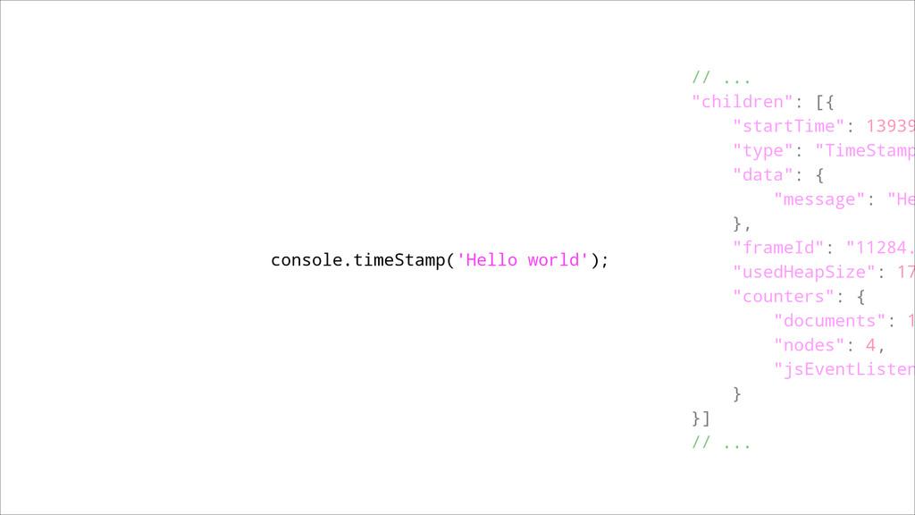 """console.timeStamp('Hello world'); ! // ... """"chi..."""