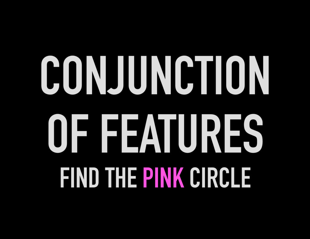 CONJUNCTION OF FEATURES FIND THE PINK CIRCLE