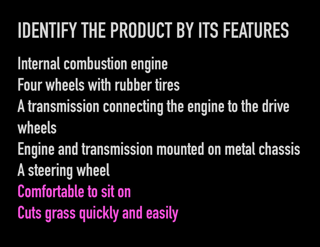 IDENTIFY THE PRODUCT BY ITS FEATURES Internal c...