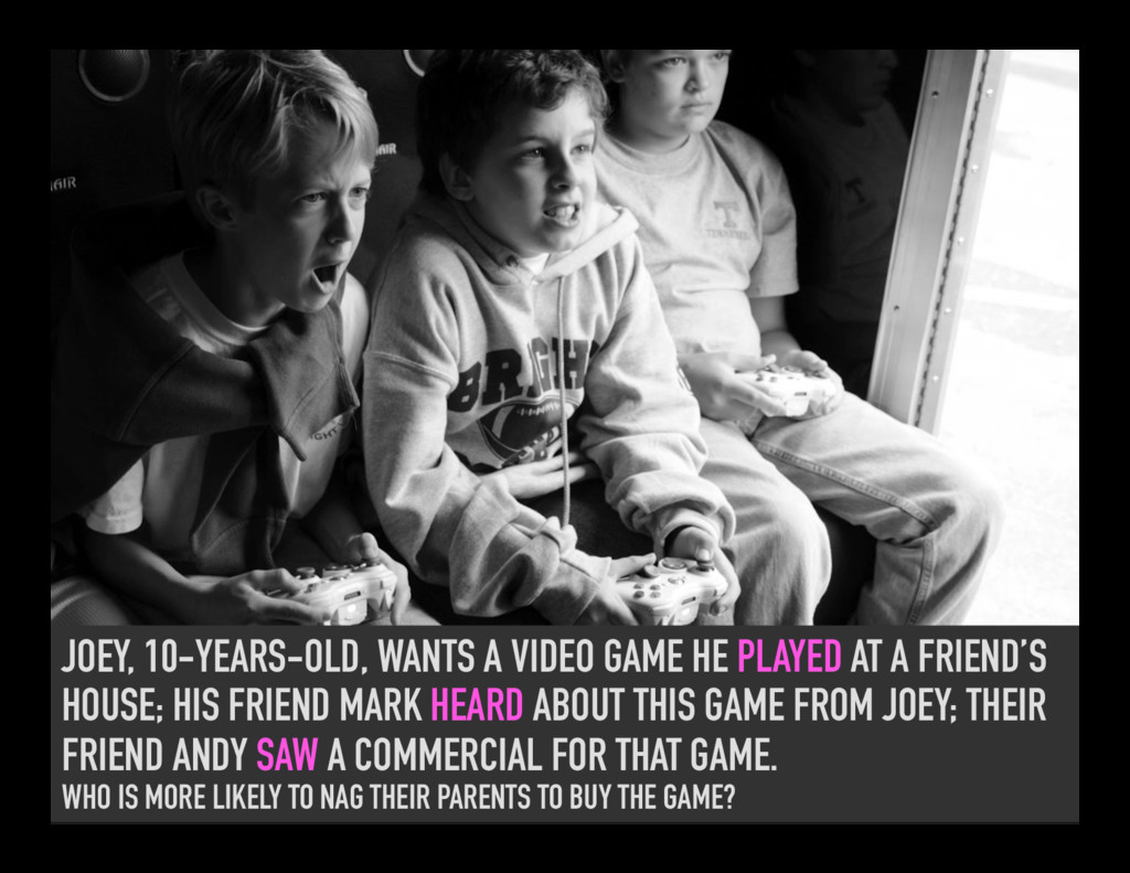 JOEY, 10-YEARS-OLD, WANTS A VIDEO GAME HE PLAYE...