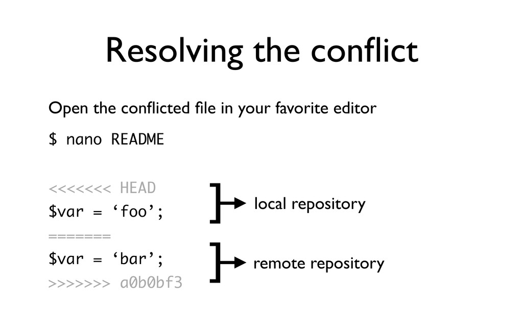 Resolving the conflict Open the conflicted file in...