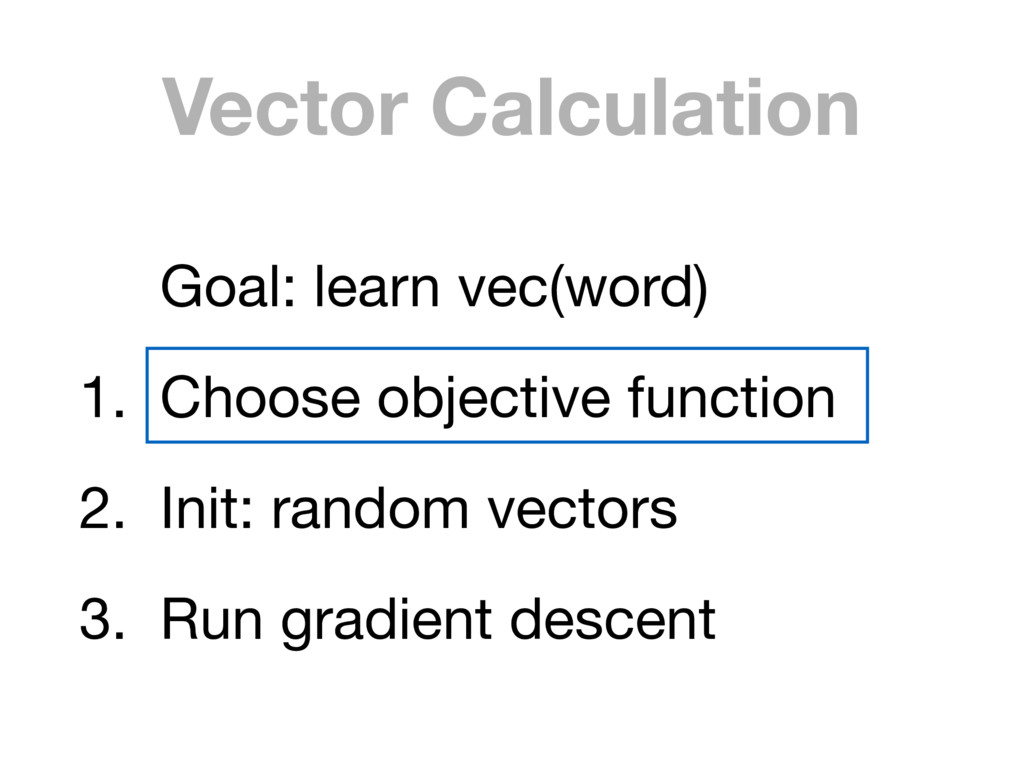 Vector Calculation Goal: learn vec(word)  1. Ch...