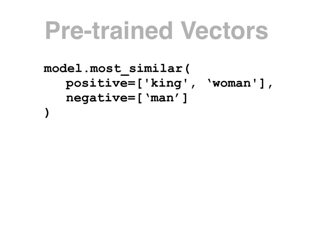 model.most_similar( positive=['king', 'woman'],...