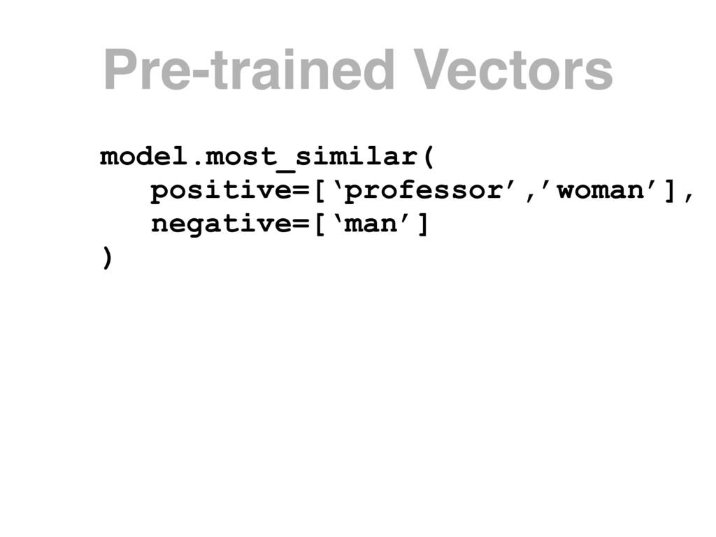 model.most_similar( positive=['professor','woma...