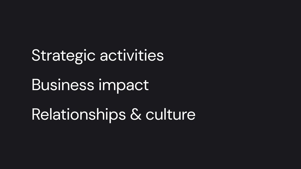 Strategic activities   Business impact   Relati...