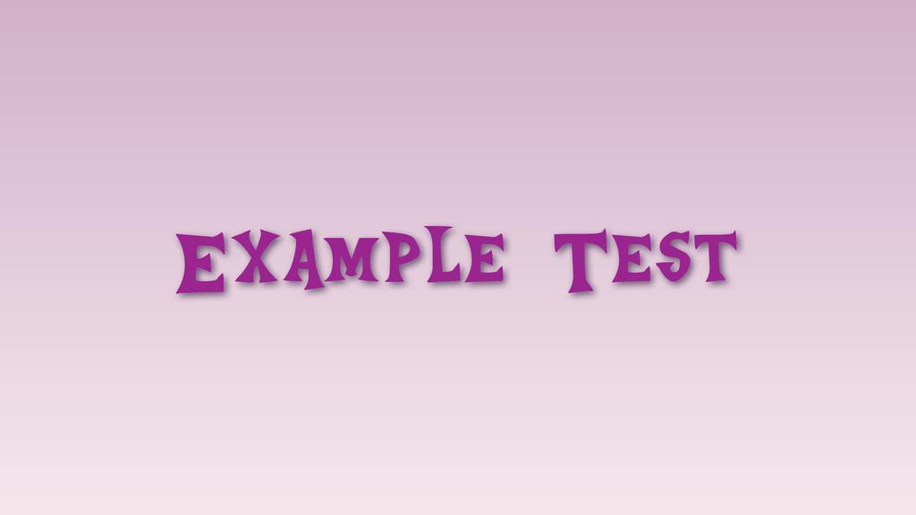 Example Test