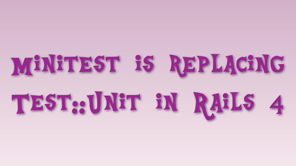 Minitest is replacing Test::Unit in Rails 4