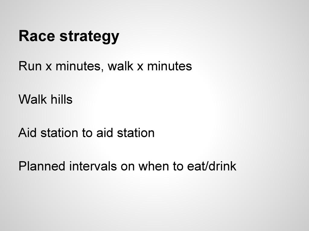 Race strategy Run x minutes, walk x minutes Wal...