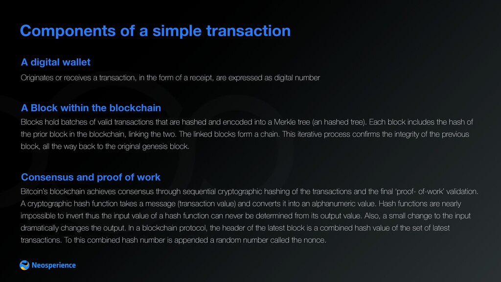 A digital wallet Components of a simple transac...