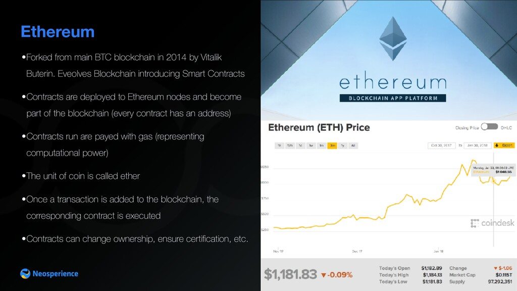 Ethereum •Forked from main BTC blockchain in 20...
