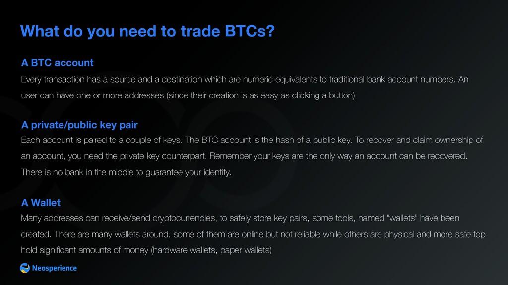 A BTC account What do you need to trade BTCs? E...