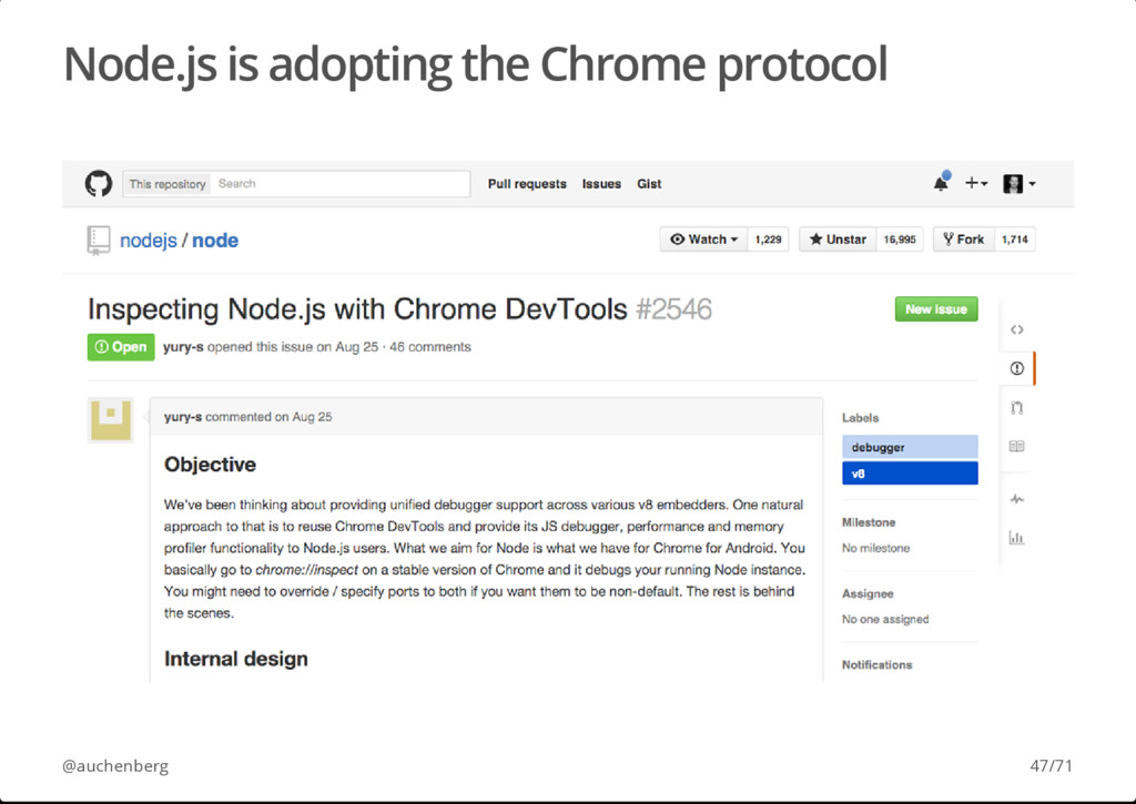 Node.js is adopting the Chrome protocol @auchen...