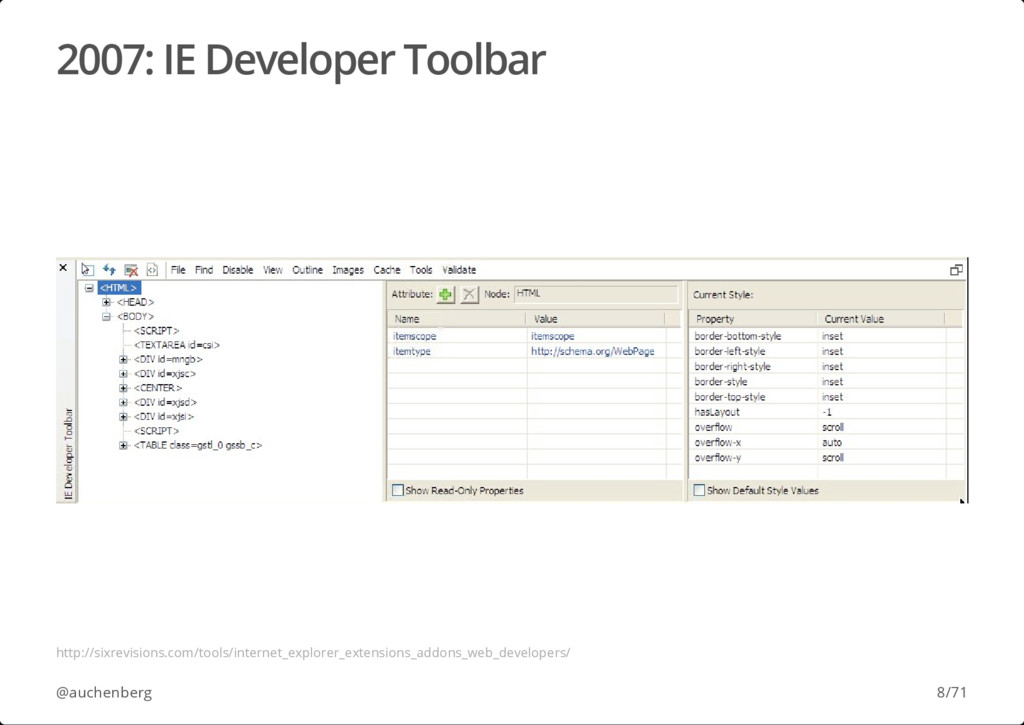 2007: IE Developer Toolbar @auchenberg http://s...