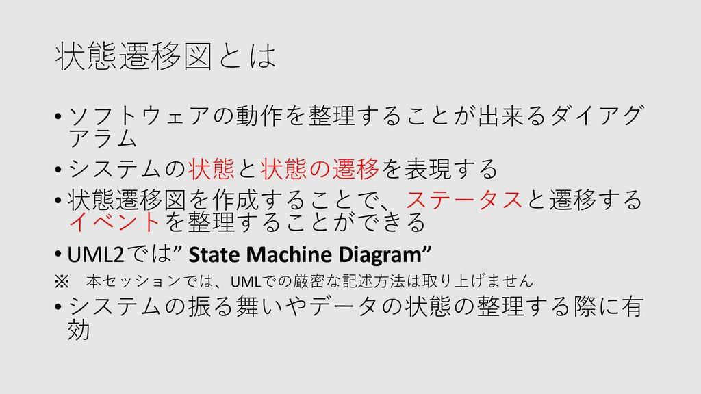 状態遷移図とは • ソフトウェアの動作を整理することが出来るダイアグ アラム • システムの状...