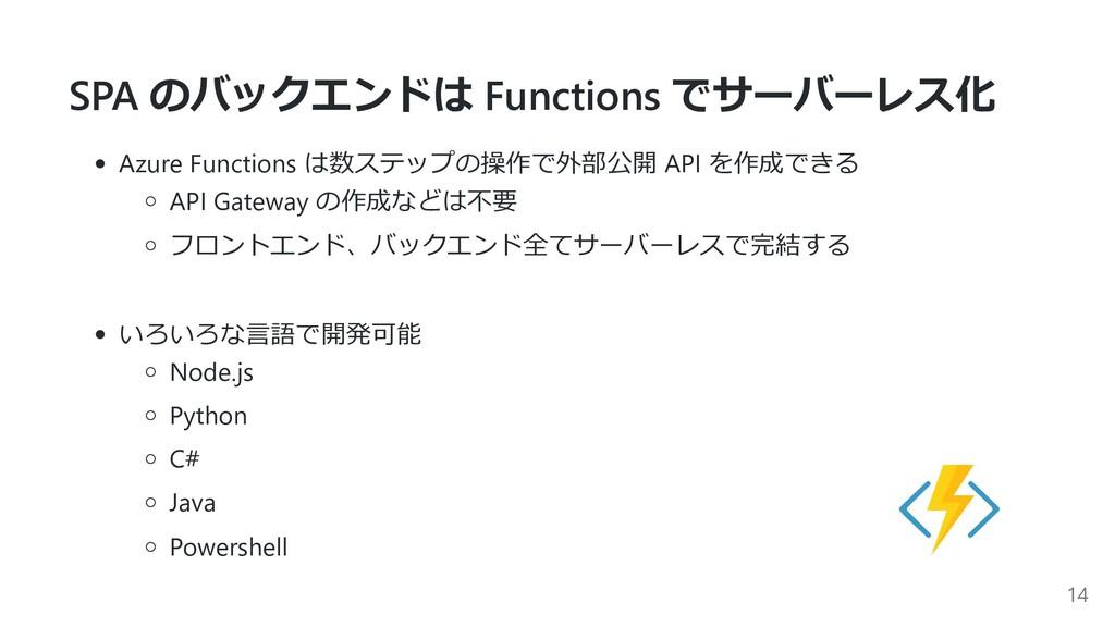 SPA のバックエンドは Functions でサーバーレス化 Azure Functions...