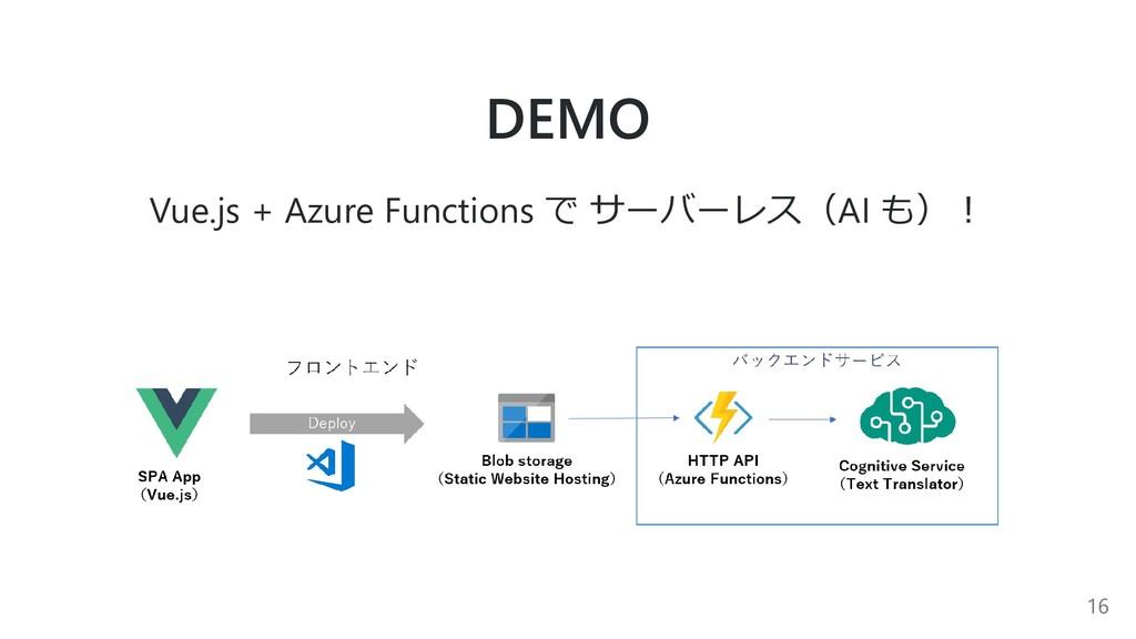 DEMO Vue.js + Azure Functions で サーバーレス(AI も)︕ 16