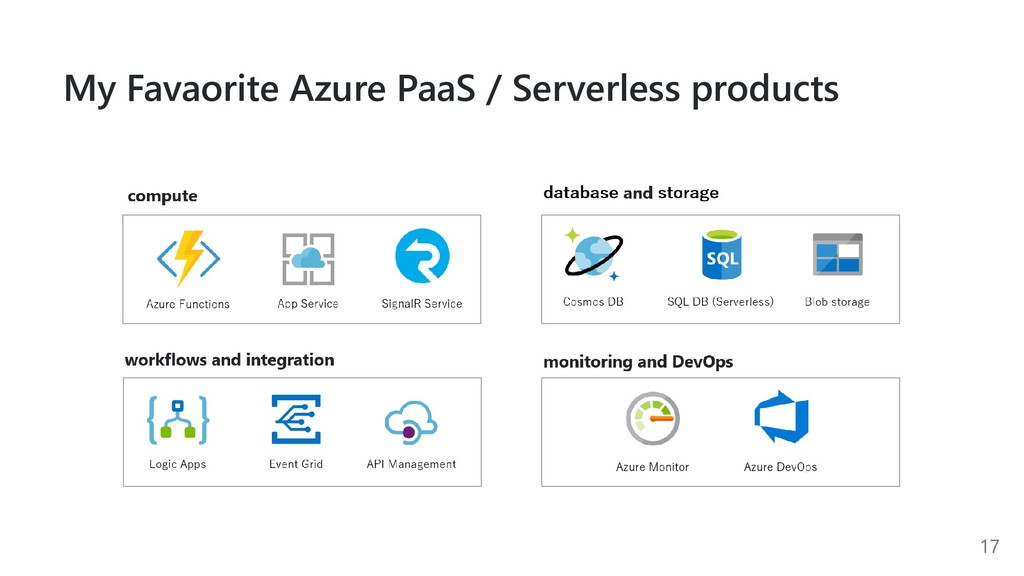 My Favaorite Azure PaaS / Serverless products 17