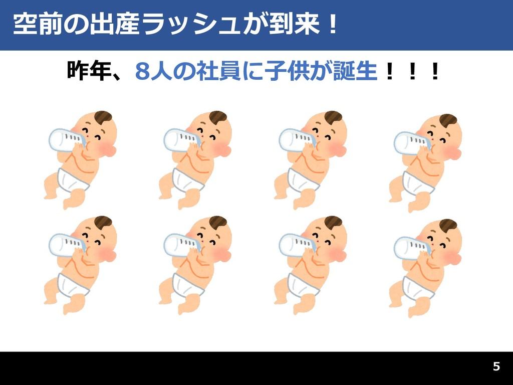 空前の出産ラッシュが到来︕ 昨年、8⼈の社員に⼦供が誕⽣︕︕︕ 5