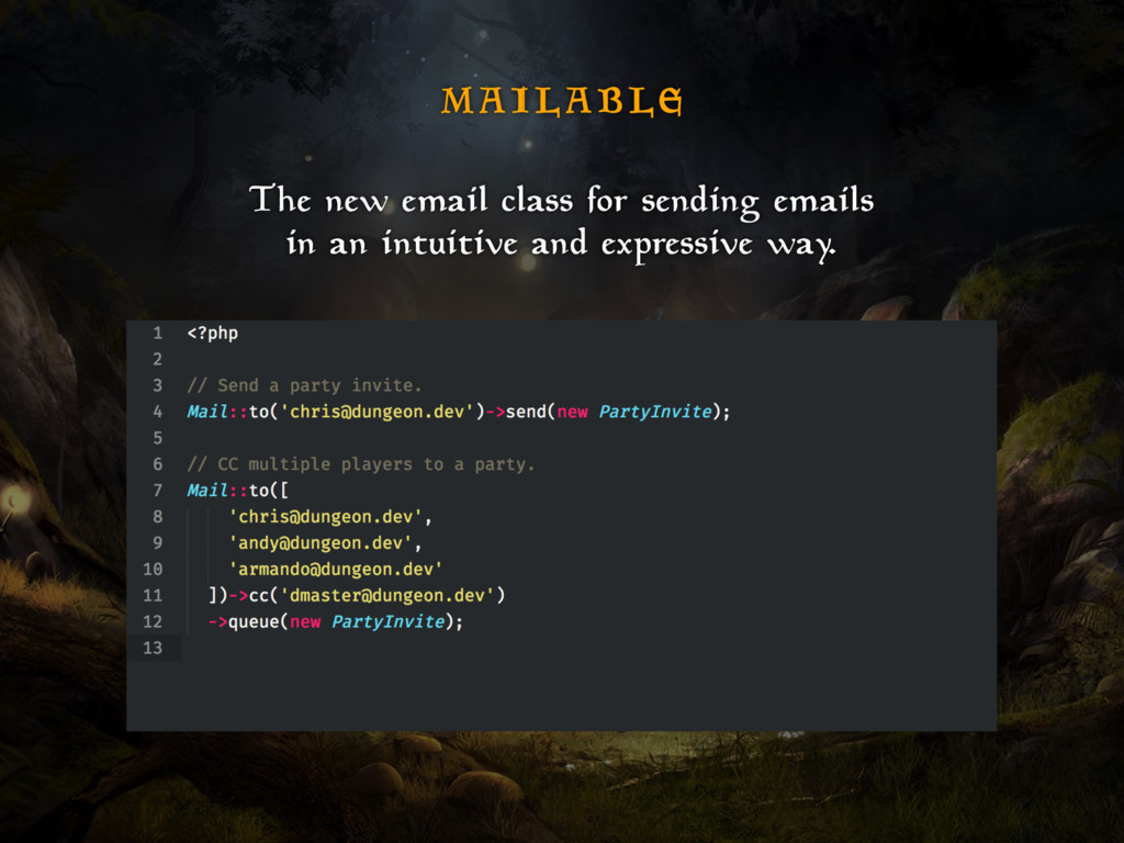 M A I L A B L E The new email class for sending...