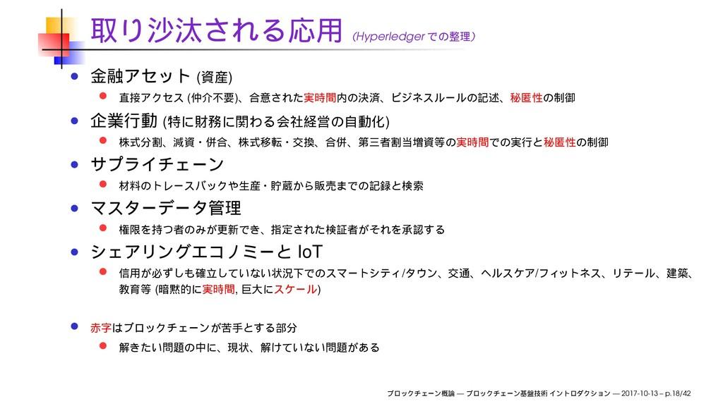 (Hyperledger ) ( ) ( ) ( ) IoT / / ( , ) — — 20...