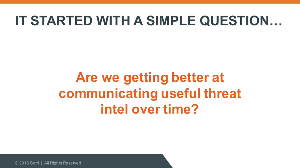 IT STARTED WITH A SIMPLE QUESTION… © 2016 Sqrrl...