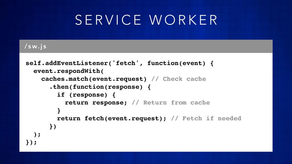self.addEventListener('fetch', function(event) ...