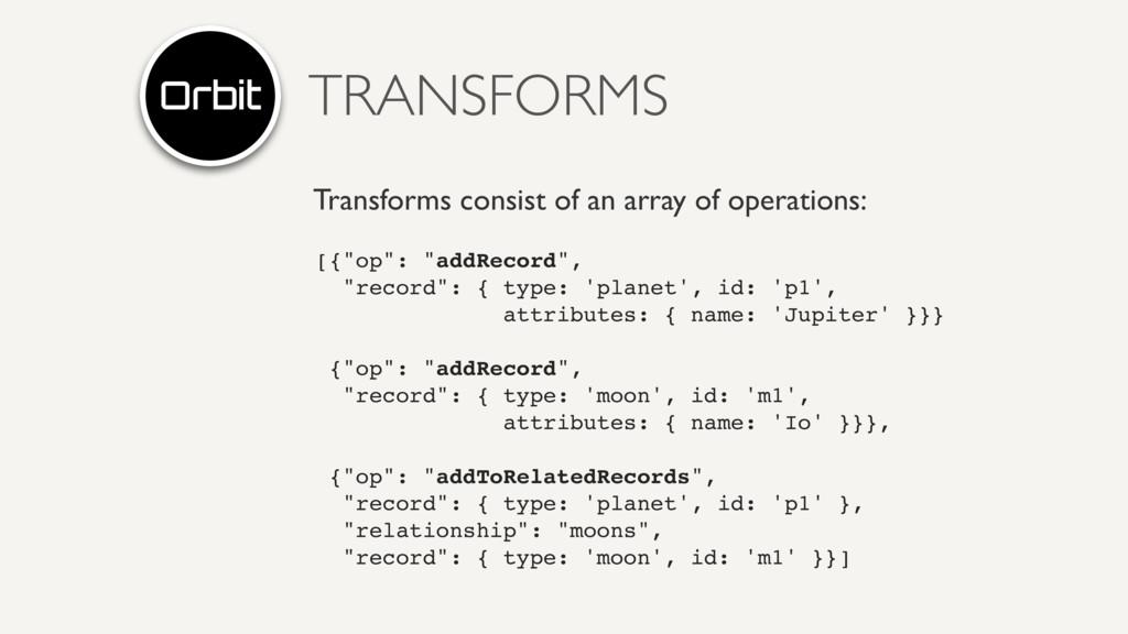 TRANSFORMS Transforms consist of an array of op...