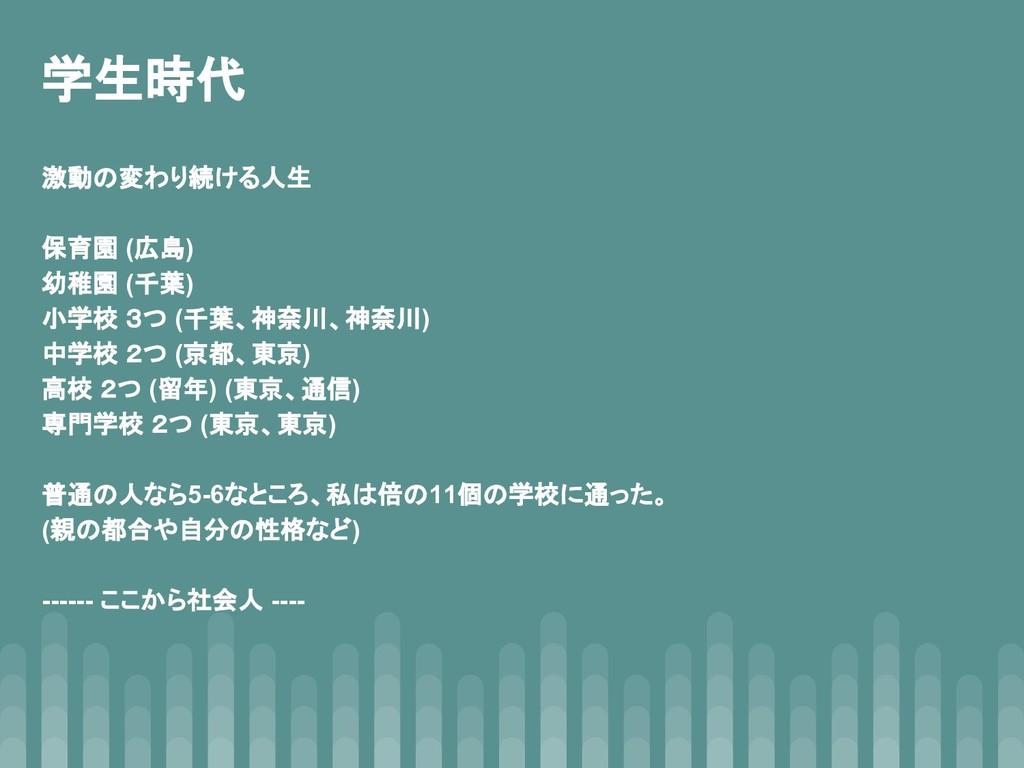 学生時代 激動の変わり続ける人生 保育園 (広島) 幼稚園 (千葉) 小学校 3つ (千葉、神...