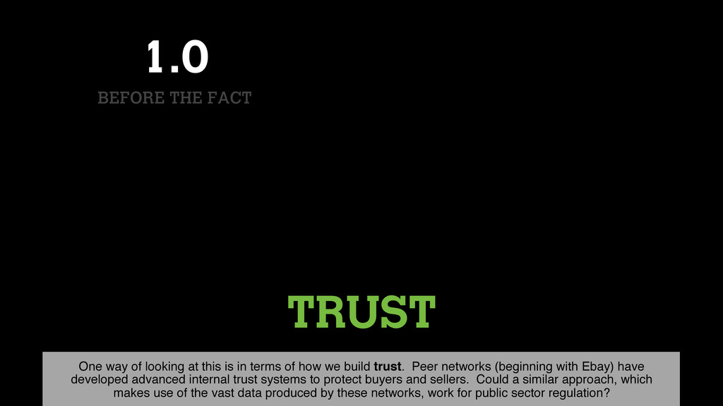TRUST 1.0 BEFORE THE FACT One way of looking at...