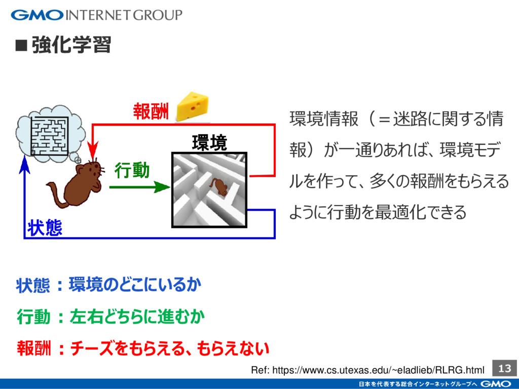 13 ■強化学習 環境情報(=迷路に関する情 報)が一通りあれば、環境モデ ルを作って、多くの...