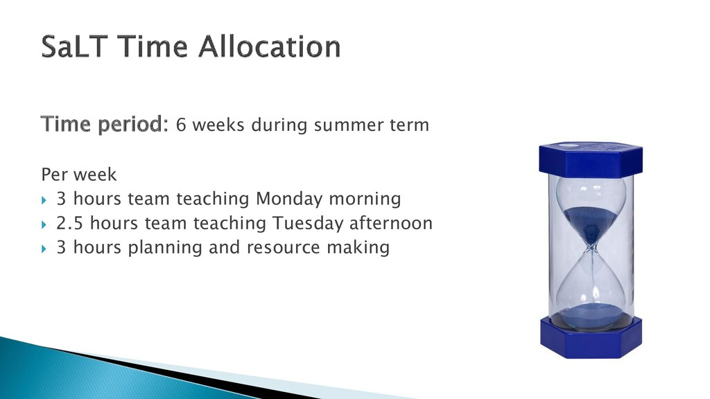 Time period: 6 weeks during summer term Per wee...