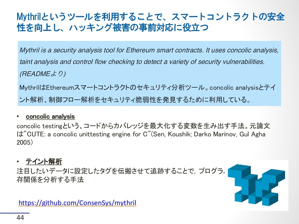 44 • concolic analysis concolic testingという、コード...