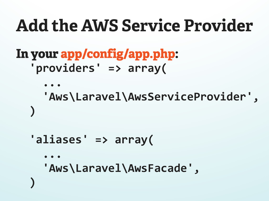 Add the AWS Service Provider In your app/config...
