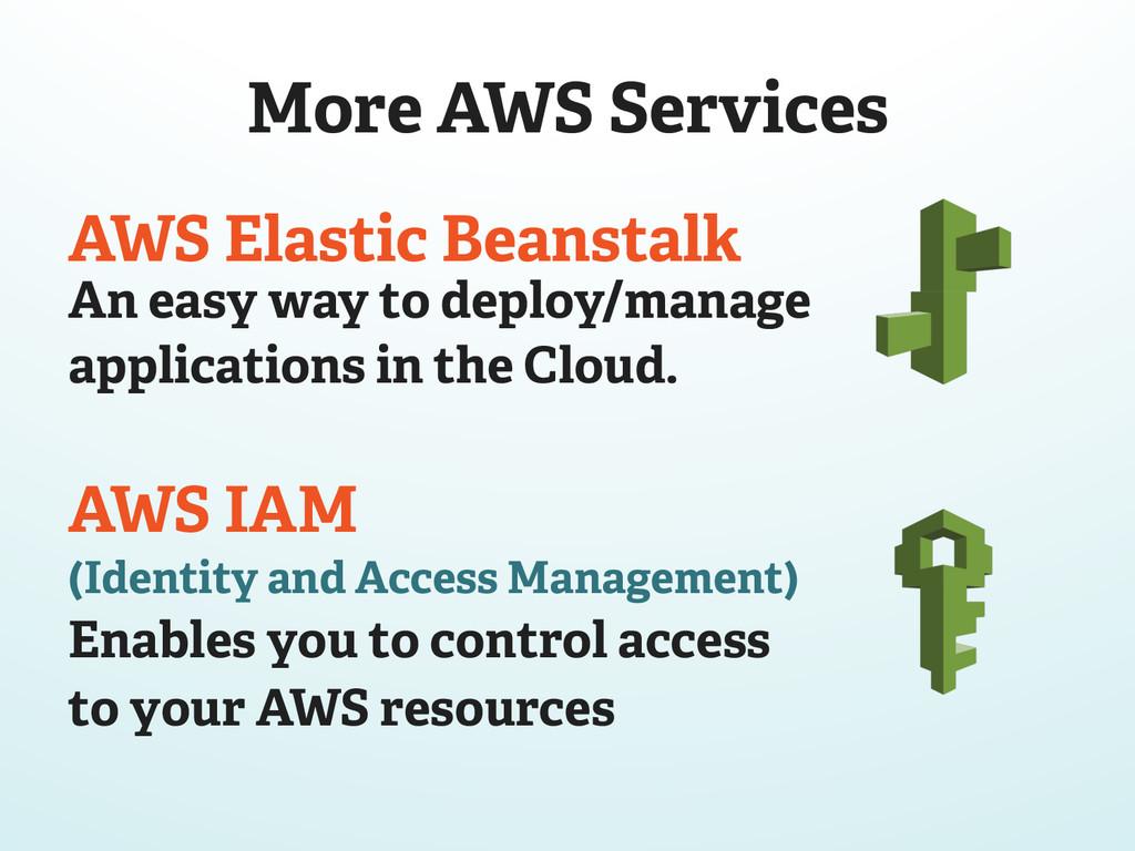 More AWS Services AWS Elastic Beanstalk An easy...