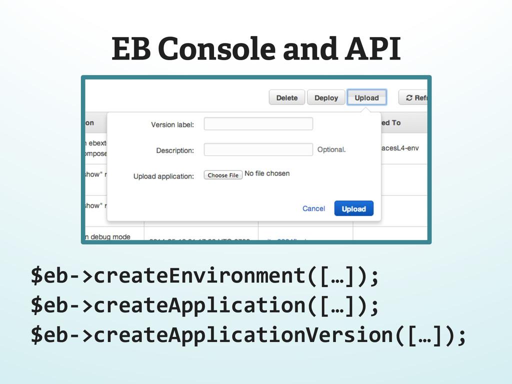 EB Console and API $eb-‐>createEnvironment([…]...