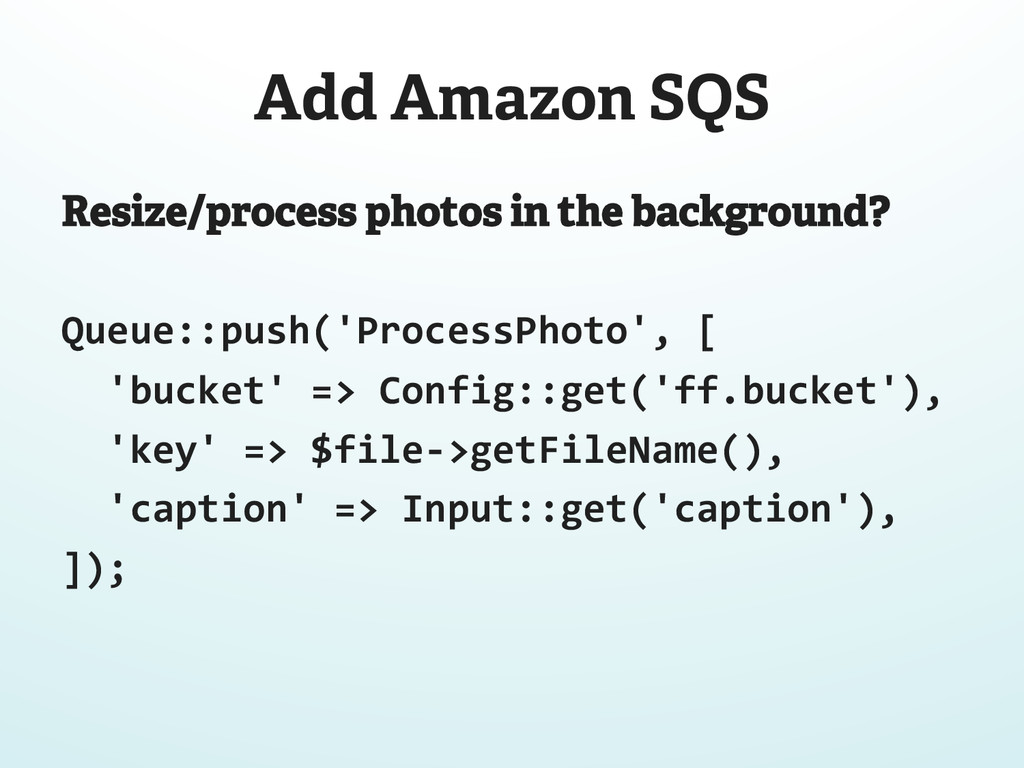 Add Amazon SQS Resize/process photos in the bac...