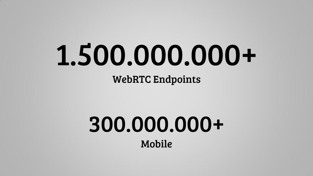 1.500.000.000+ WebRTC Endpoints 300.000.000+ Mo...