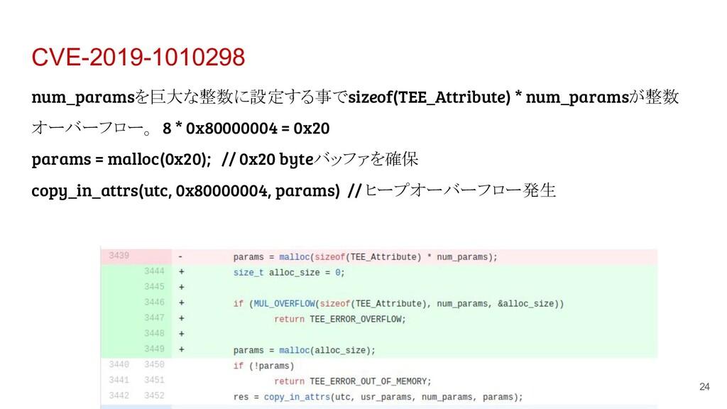 CVE-2019-1010298 24 num_paramsを巨大な整数に設定する事でsize...