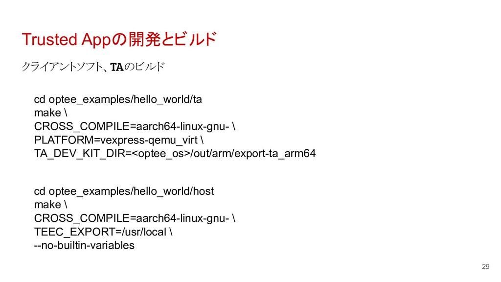 Trusted Appの開発とビルド クライアントソフト、TAのビルド 29 cd optee...